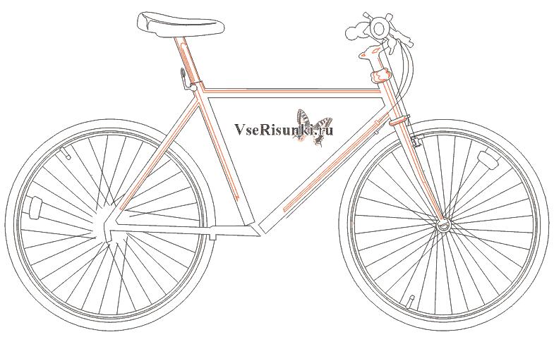 Велосипед картинка для детей для срисовки
